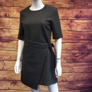 Kate Spade Grey Wool Faux Wrap Short Sleeve Dress